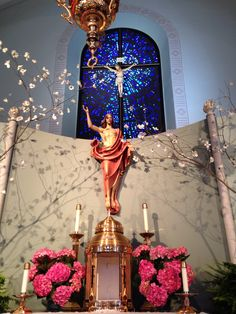 Our Lady of Hope Catholic Church decorated for Easter
