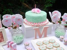 Pink and mint cake and favors at a shabby chic birthday party! See more party… Vintage Birthday Parties, Shabby Chic Birthday, Vintage Party, 1st Birthday Girls, First Birthday Parties, First Birthdays, Cumpleaños Shabby Chic, Shabby Chic Baby Shower, Mint Cake