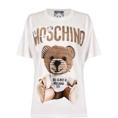 Moschino Oversized Recycled Teddy T-Shirt (€245) ❤ liked on Polyvore featuring tops, t-shirts, white top, over sized t shirt, oversized tees, teddy bear t shirts and oversized tops