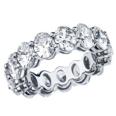 Stunning Oval shape Eternity Band USA NEW AGE This is a stunning Eternity Band, set with 10.43 CT. of Oval shape Diamonds. Each independent diamond is .80 CT's. The average color and clarity is D/E/F in color VVS/VS in clarity. Magnificent look! Price $68,500 Condition* NEW