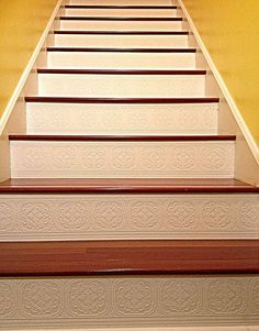 Painted Stairs that Make A Statement - Lovely Painted Stairs that Make A Statement, Should I Add A Carpet or Rug Runner to My Mountain House Staircase Painted Stair Risers, Painted Staircases, Redo Stairs, Basement Stairs, Basement Ideas, Stair Redo, Tile Stairs, Basement Flooring, House Staircase