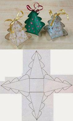 Molde de árvore de natal tipo caixinha. DIY : Christmas Tree Box Template