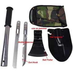 Super 4 in1 Multi-function Military Portable Folding Shovel AXE Survival Saw Inside Handle Outdoor Camping Emergency Tool