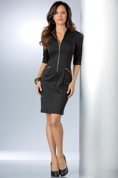 Gold Zipper Ponte Knit Dress Misses | MetroStyle
