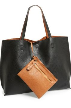 $48 - Main Image - Street Level Reversible Faux Leather Tote & Wristlet