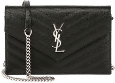 From dejmoda.com - Saint Laurent Monogram Wallet-on-Chain, Black