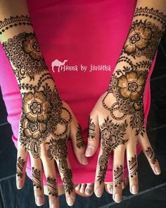 Intricate Floral Henna / Mehndi for EID on hands and arms . Henna by Jorietha Henna Mehndi, Bridal Mehndi, Eid, Hand Tattoos, Arms, Floral, Wedding, Valentines Day Weddings, Flowers
