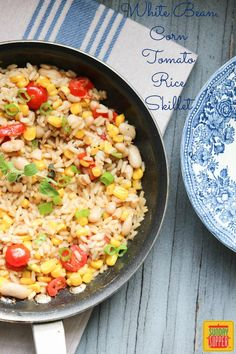 White Bean Corn Tomato Rice Skillet #SundaySupper Perfect for a Quick Easy and Healthy Dinner