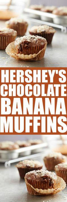 Hershey's Chocolate Banana Muffins - a great breakfast or snack recipe!