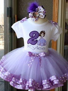 Princess Sofia the First Tutu Set, Ribbon Trim Tutu Birthday Set ~ Includes Romper/Onesie,Tutu, Hairbow
