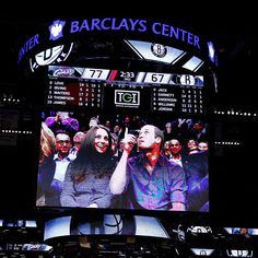 """Prince William and Catherine, the Duke and Duchess of Cambridge are displayed on the Jumbotron to see whether they will be caught on the so called """"kiss cam"""" during the basketball game between the Cleveland Cavaliers and the Brooklyn Nets at the Barclays Center in Brooklyn on Dec. 8, 2014."""