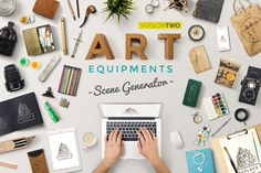 Check out Art Equipments Scene Generator V2 by Mockup Zone on Creative Market