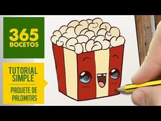 COMO DIBUJAR UNAS PALOMITAS KAWAII PASO A PASO - Dibujos kawaii faciles - How to draw a popcorn - YouTube