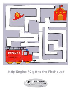 A simple Fire Engine maze for preschoolers and developing hand coordination.