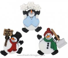 Roly Poly Snowmen Novelty Buttons Dress It Up Theme Pack Up Theme, Mickey Head, Button Dress, Scrapbook Pages, Scrapbooking, Winter Holidays, Bowser, Hair Bows, Embellishments