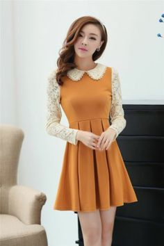 Elegant Womens Lace Preppy Style Peter Pan Collar Long Sleeve Dress | eBay