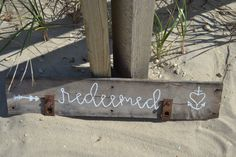Reclaimed Wood Sign, Wall Art, Handmade, Redeemed, Wedding, Birthday, Gift by MomsGoneMad on Etsy