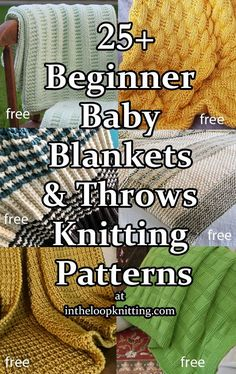 Knitting patterns for baby blankets and throws that are easy enough for beginner knitters and relaxing for experienced knitters. Most are free. Easy Blanket Knitting Patterns, Free Baby Blanket Patterns, Baby Booties Knitting Pattern, Beginner Knitting Patterns, Knit Patterns, Baby Knitting, Beginner Crochet, Knitting Designs, Free Knitting