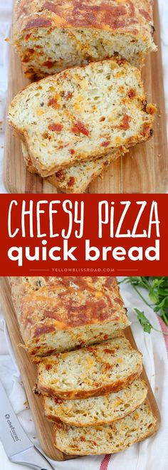 This Cheesy Pizza Bread is a savory quick bread recipe full of sun-dried tomatoes and three kinds of cheese! Great as a snack or with your favorite plate of spaghetti! (Pizza Recipes With Biscuits) Quick Bread Recipes, Bread Machine Recipes, Baby Food Recipes, Cooking Recipes, Pizza Recipes, Pizza Loaf Recipe, Crab Apple Recipes, Cooking Bread, Bread Food