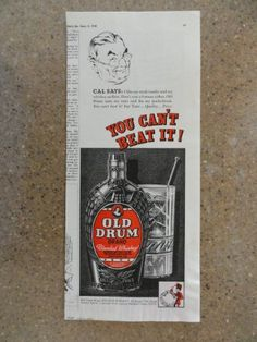 Old Drum Whiskey, Vintage 40's Illustration print ad. (Ca... https://www.amazon.com/dp/B007QGGD8E/ref=cm_sw_r_pi_dp_x_P-8-xbA815BSE