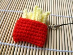Crochet Cell Phone Charm  French Fries by skymagenta on Etsy, $3.00