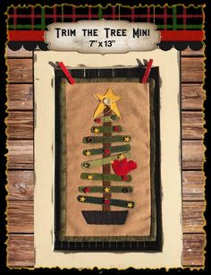 Perfect size to fit in the frames you bought from us at quilt shows! Complete kit is only $21.95! Make it in time for christmas!!! Trim the Tree Mini wool applique kit and pattern by myreddoordesigns on Etsy