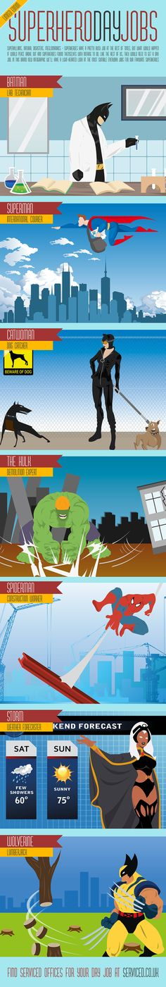 Superhero Day Jobs   #Infographic #SuperHero #Worker #DailyJobs