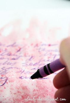 alisaburke: creativity with crayons! ::: use crayon to journal over watercolor background