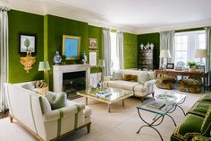 Tory Burch New York Apartment Green Velvet Walls Living Room Sofa Living Room Green, Green Rooms, Living Room Sofa, Living Rooms, Apartment Living, Green Walls, Family Rooms, Living Spaces, New York Apartments