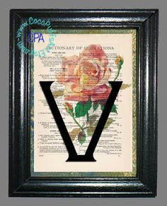 Vintage Dictionary Page Art Print Letter V with a Peachy, Pink Rose, Buds, Green Leaves Beautifully Upcycled Book Art Print by CocoPuffsArt on Etsy