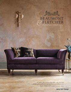 Amethyst Purple couch from Beaumont and Fletcher (love the legs/feet!)