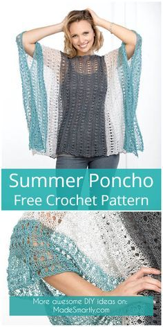 Summer Poncho - Free Crochet Pattern Knitting For BeginnersKnitting FashionCrochet ProjectsCrochet You can find Yarns and more on our website.Summer Poncho - Free Crochet Pattern Knitting For BeginnersKnitting FashionCrochet . T-shirt Au Crochet, Crochet Bolero, Beau Crochet, Poncho Au Crochet, Pull Crochet, Crochet Poncho Patterns, Crochet Shawls And Wraps, Crochet Shirt, Crochet Woman
