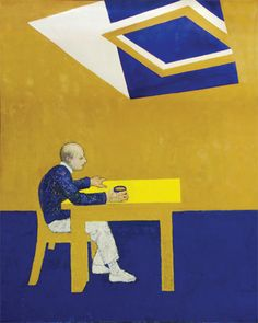 """""""Blue Skies, 1995, oil on canvas, 152x122cm The first self-portrait completed after William Utermohlen's diagnosis shows a man whose world has become untethered. The artist clings to a table as if to anchor himself within a flattened, featureless space.  About the art work: When he learned in 1995 that he had Alzheimer's disease, William Utermohlen, an American artist living in London, immediately began work on an ambitious series of self-portraits. The..."""""""
