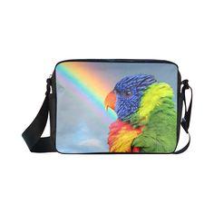 Rainbow Lorikeet Classic Cross-body Nylon Bag. FREE Shipping. #artsadd #bags #parrots