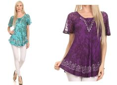 This blouse is traditionally handmade and hand dyed to create a unique dye color and pattern for each individual blouse. This blouse style has unique embroidery details, loosely draped cap sleeves, a frontal tie closure, and embroidered neck and sleeve hems. #womens  #tops #ladies #apparel #blouses #fall #clothing #shirt #fashion #dress #women #plussizes #online #apparal #onlineshopping #fashionable