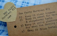 The Keep It Hen Party / Wedding Day Survival Kit by oohluckyhen