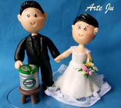 Arte Ju artesanato em biscuit:         Noivinhos fofinhos um amor , noivo vendedo...