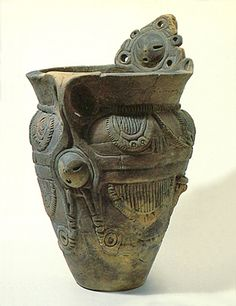Deep clay pot. It is thought that I make delivery a motif.   BC.3,500 - BC.2,500. Jomon era. Yamanashi Japan.