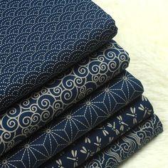 Japanese Fabrics Navy Cotton Linen Blended Prints Half Yard/ One Yard Unit
