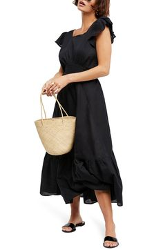Endless Summer by Free People Takin' a Chance Midi Dress,                         Main,                         color, Black