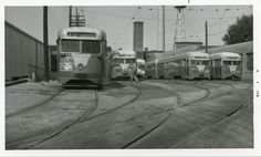 Capital Transit Streetcars at Friendship Heights Car House (1950s). The St. Louis Car Co. and Brill Pre-PCC Streamliners shown are among twenty cars that served much of their lives on route 30 and were retired in 1953.