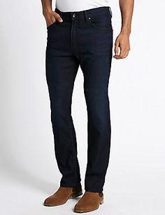 Straight Fit Travel Stretch Jeans #denim #jean #jeans #men #man #fashion #style #marksandspencer #erkek #kot