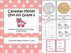 **Best Seller** A Canadian money unit based on the Ontario Curriculum… Teaching Money, Teaching Math, Teaching Ideas, 1st Grade Math, Grade 1, Second Grade, Guided Math Groups, Ontario Curriculum, Money Worksheets