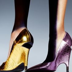 """tomford: """" The Metallic Printed Croc Cut-Out Heel Pump from the Spring/Summer 2016 Runway. tmfrd.co/MetallicCrocCutOutHeelPump """""""