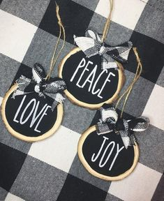 A set of three (3) wood slice ornaments, hand painted in Rae-Dunn style font. Words can be customized to whatever you would like! I can do different color combinations, such as the black background and white letters, white background and red letters, white background and black