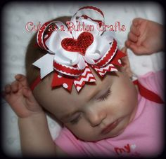 Adorable Heart Valentine  Hair Bow Headband Perfect For Baby's First Valentines day can be headband or hair bow on Etsy, $8.50