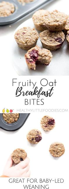Fruity Oat Breakfast bites. Oats baked with fruit in mini muffin trays to make a healthy, hand held breakfast or kids' snack. Also great for blw (baby-led weaning) via @hlittlefoodies