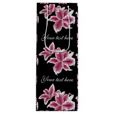 """Stargazer Lillies Wine Gift Bag on Black $10.95 per gift bag Artwork designed by karlajkitty. Made by Digiwrap  Detail of my """"Stargazer Lillies"""" digital painting cover the entire bag. 2 areas for your text on front and back. Shown on a black background. Click on """"Customize it!"""" for more options.  Artwork and design by Karlajkitty"""