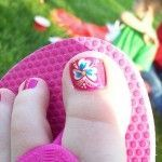 Toe Nail Designs Gallery: Beautiful Flower Summer Toe Nails Design---pinned by Annacabella🌺🌺 Toenail Art Designs, Flower Nail Designs, Pedicure Designs, Pedicure Nail Art, Flower Pedicure, Toe Designs, Pedicure Ideas, Nail Nail, Flower Toe Nails