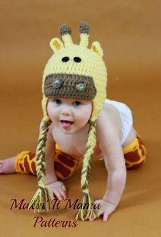 Crochet Hat PDF PATTERN Giraffe Hat Instant by MakinItMamaPatterns, $4.00